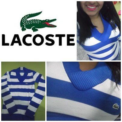 Suéter Lacoste Feminino Branco  Azul - Loja virtual l Love e ... a527e74b40